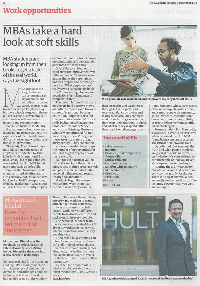 The Guardian talks about Hult's soft skills in the MBA program