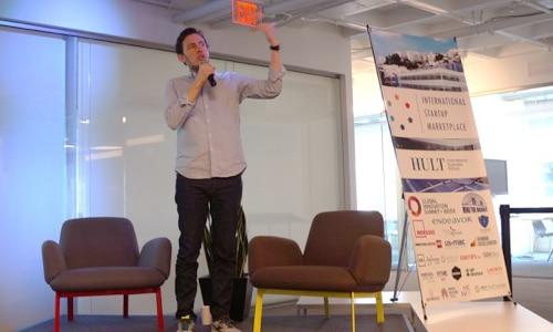 Hult professor Elliott Adams introducing International Startup Marketplace