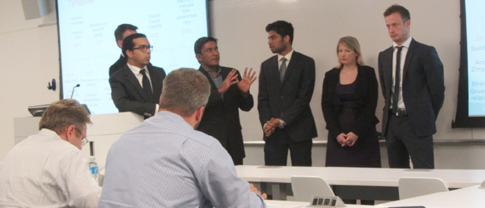 Hult students presenting to judges