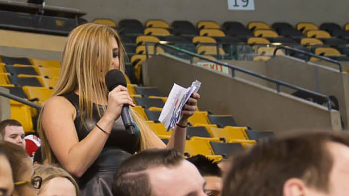 Hult Boston students ask questions at the Celtics career series