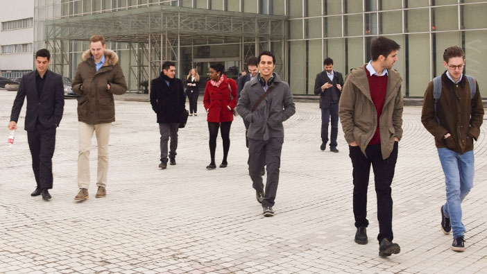 Hult Shanghai students taking a tour of the Volkswagen compound