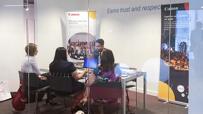 Hult Dubai students interviewing at Canon in Dubai during the Career Open House.