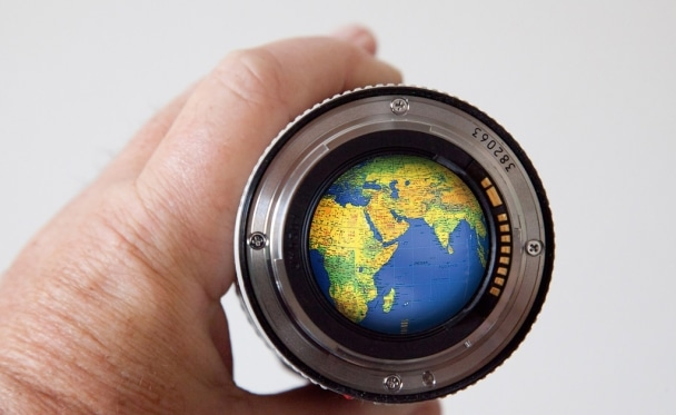 camera lens with world photo