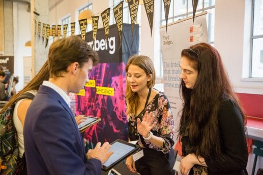 Hult students meeting companies such as Bloomberg on campus