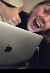 Maria at laptop
